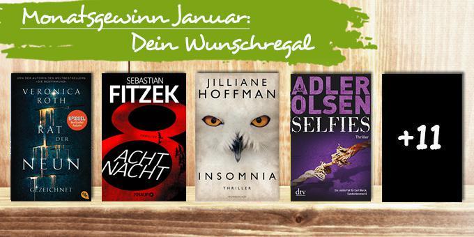 Monatsgewinnspiel Januar 2017: Dein Wunschregal mit 15 Büchern Deiner Wahl!