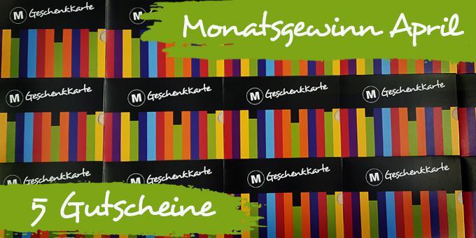 Monatsgewinn April:  5 Buchgutscheine à 50,- Euro