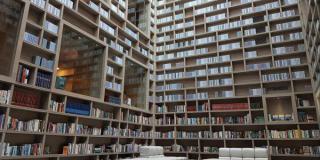 Bild einer Hotel-Buchhandlung; die Bücher reichen bis unter die Decke