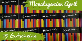 Monatsgewinn April:  15 Buchgutscheine à 15,- Euro