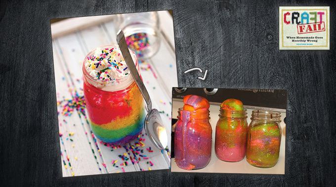 Zwischen Anspruch und Wirklichkeit: Foto eines geplanten Regenbogen-Kuchens und Foto des tatsächlichen Ergebnis