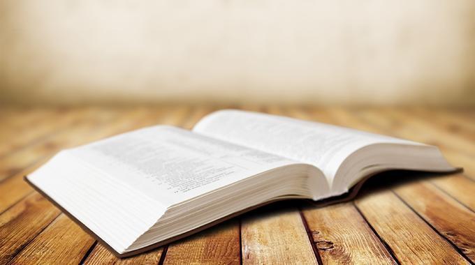 Aufgeschlagenes Buch vor holzigem Hintergrund