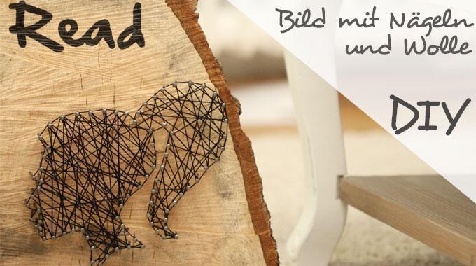 DIY Holzbild mit Nägeln und Wolle