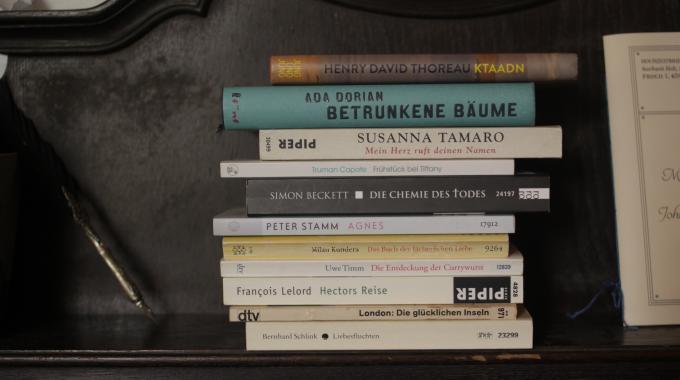 Bücherstapel auf altem Schrank