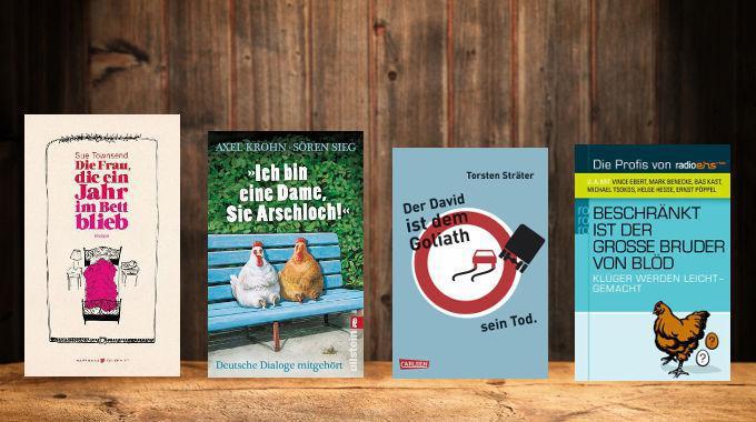 Buchcover der vorgestellten Bücher (Was liest Du?, WDR Fernsehen, 29.11., Jürgen von der Lippe und Carolin Kebekus)